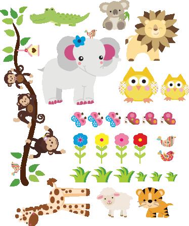 Vinilo infantil sticker selva cosas que adoro for Pegatinas vinilos infantiles