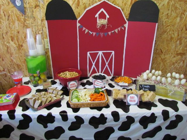 Feed: mini marshmallows or yogurt raisins, Gage's Garden: veggies and pepper filled with dip, Animal Crackers, Hay Bales: rice krisipies, Fresh Eggs: cake pops, Corn: candy corn, Tractor Wheels: Oreos.