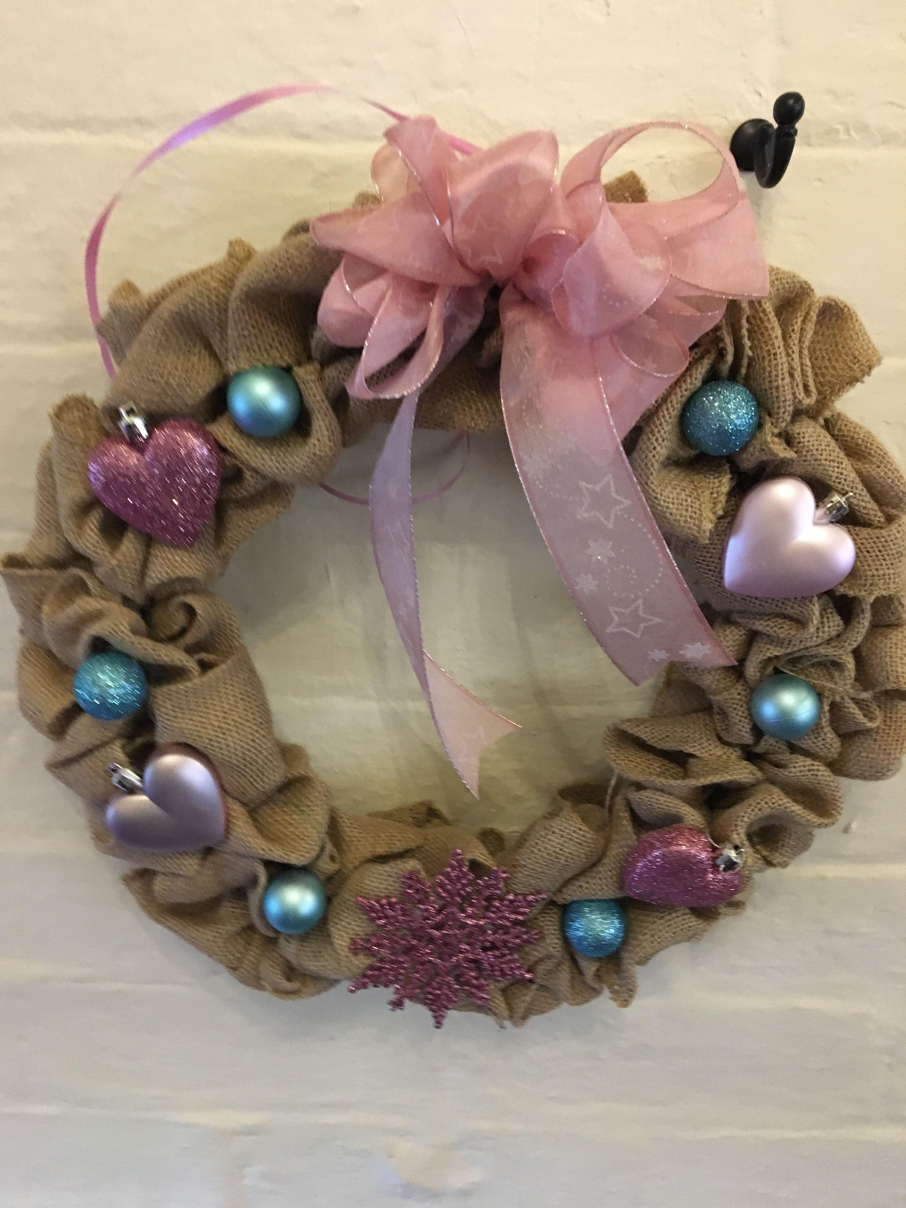 Handmade pink and turquoise hessian Christmas Wreath with hearts and snowflake very kawaii
