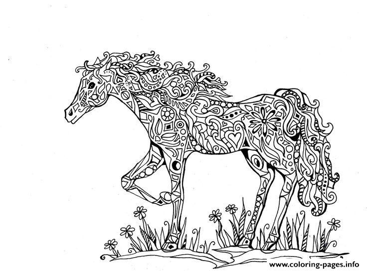 Print Adults Difficult Animals Horse Printable Hd Coloring Pages