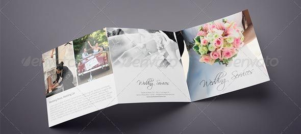 Awesome Square Trifold Wedding Brochure  Design
