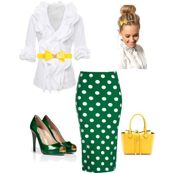 Bright green polka dot pencil skirt!