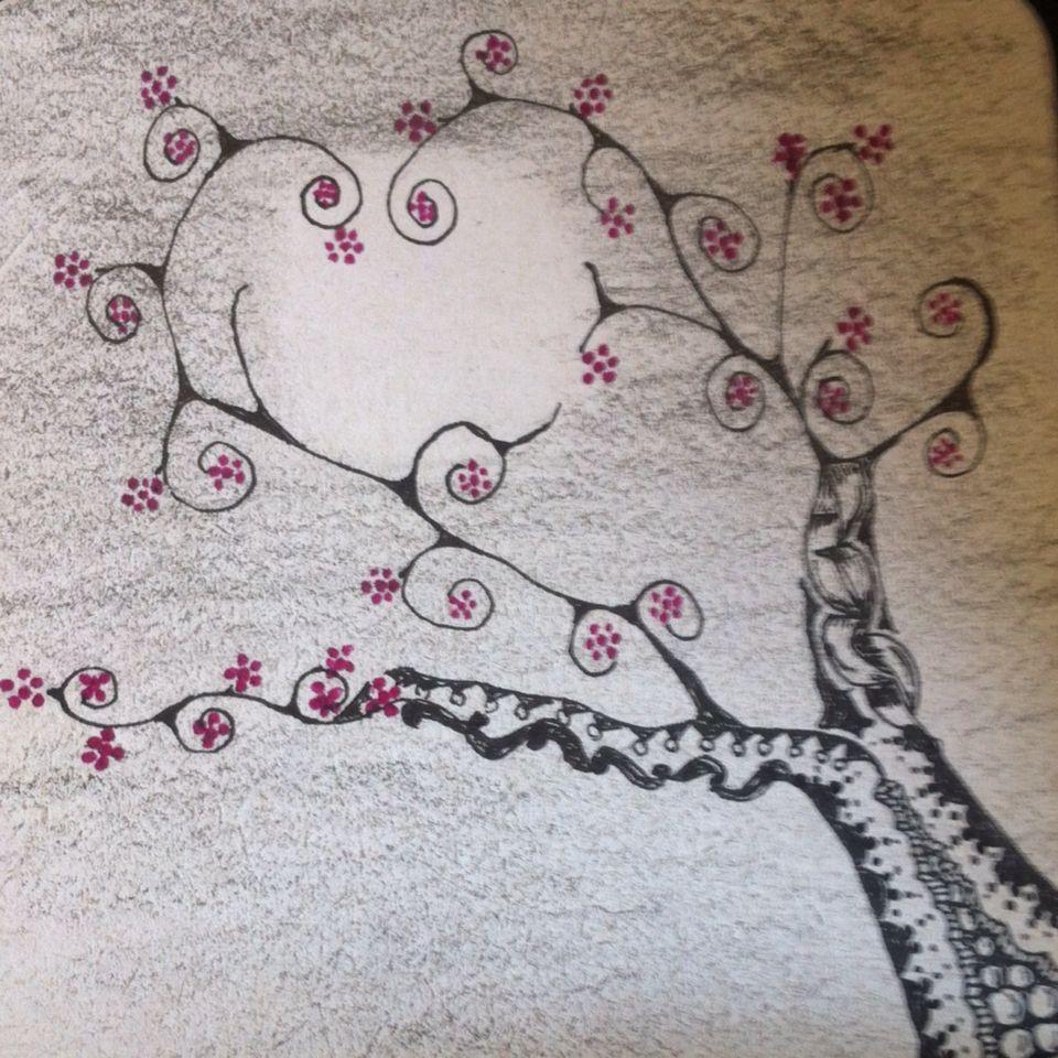 Cherry Blossom Tree Beginning To Bloom Cherry Blossom Tree Scratchboard Ink Art Inspiration