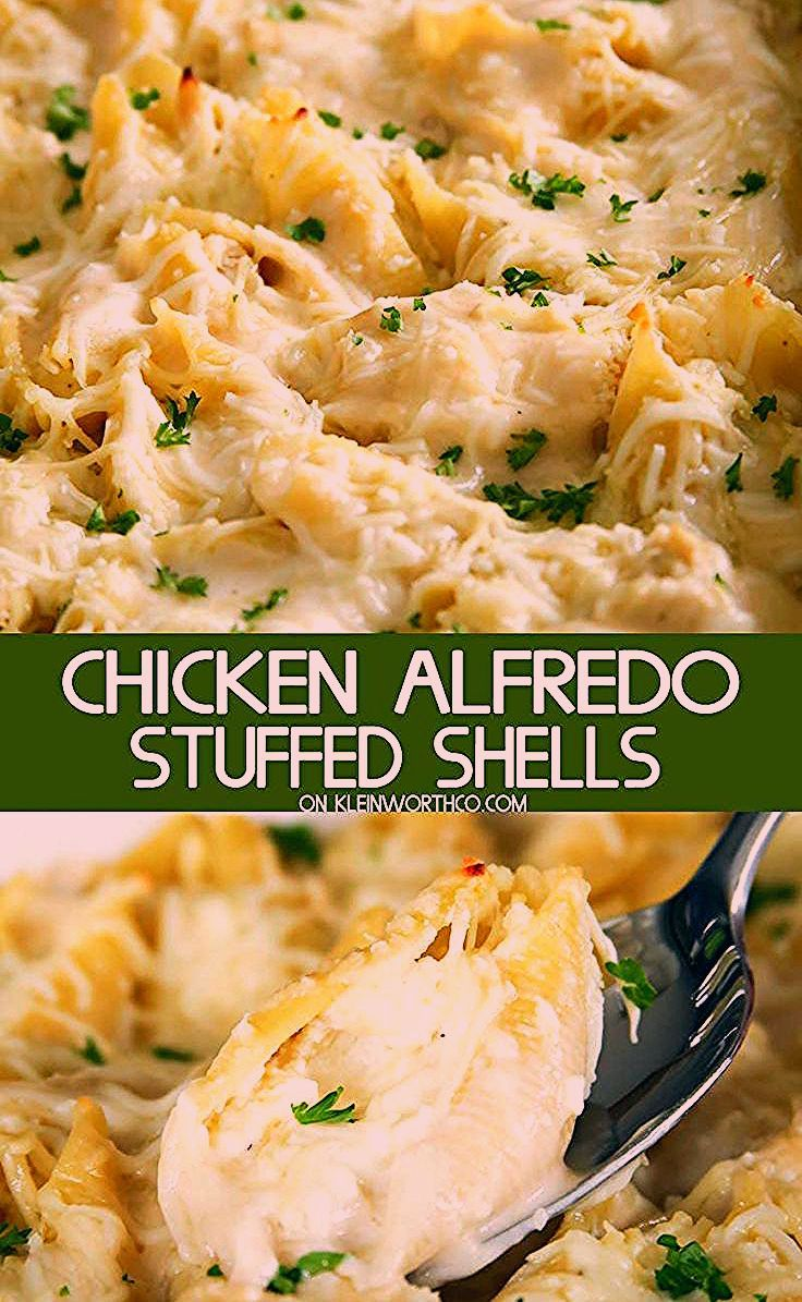 Chicken Alfredo Stuffed Shells is an easy dinner recipe made with rotisserie chicken, 3 cheeses & a