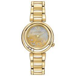 f977207e2ec Ladies  Citizen Eco-Drive Sunrise Diamond Gold-Tone Watch