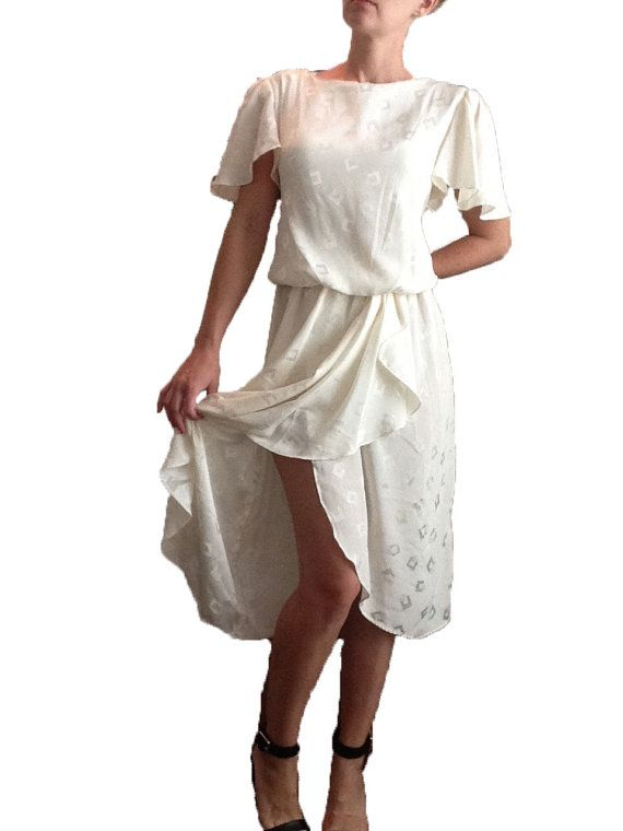 Designer Vintage Cream Colored Dress with Square by DIYstylist