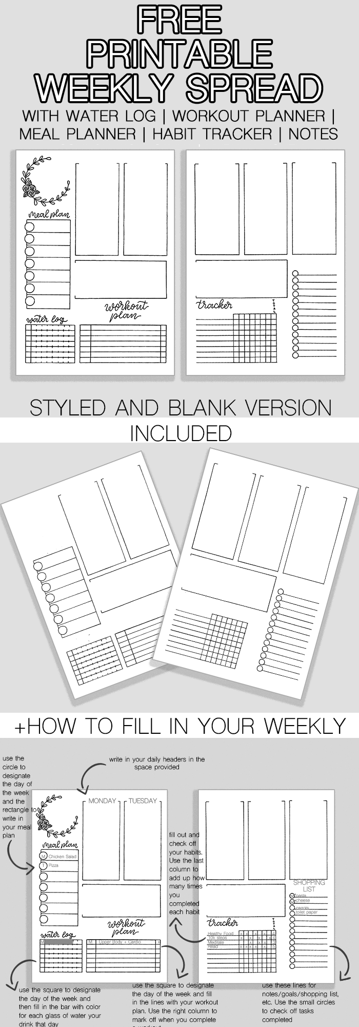 Awesome Free Bullet Journal Weekly Spread Printable | Journal ideen ...