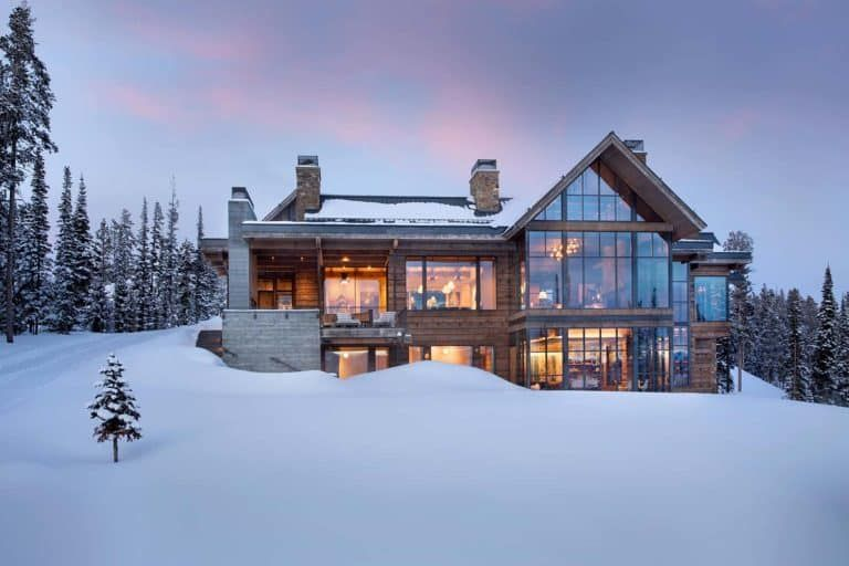 Modern ski home in Montana boasts views of snow-capped mountains