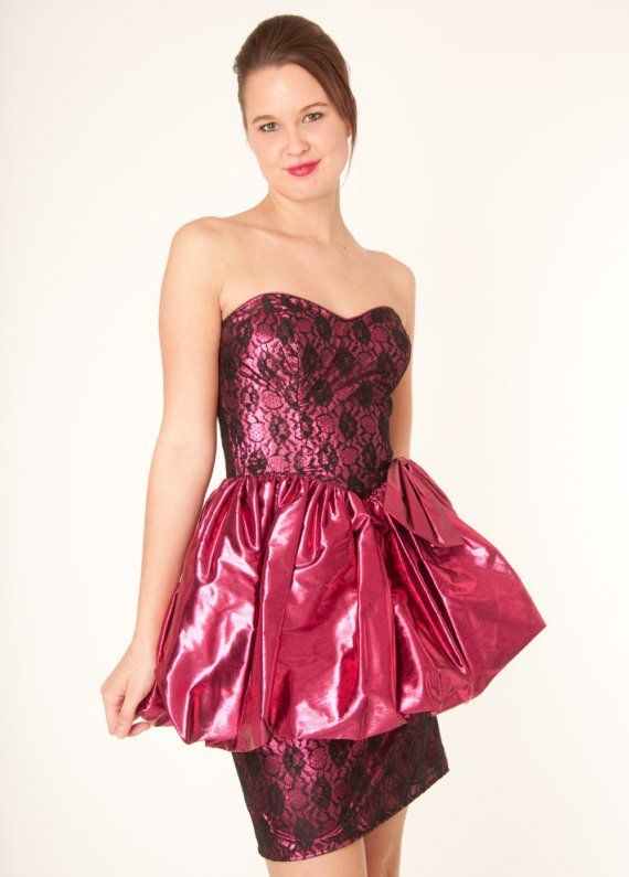 Vintage 80s Metallic Pink and Black Lace Gunne Sax Party Prom ...