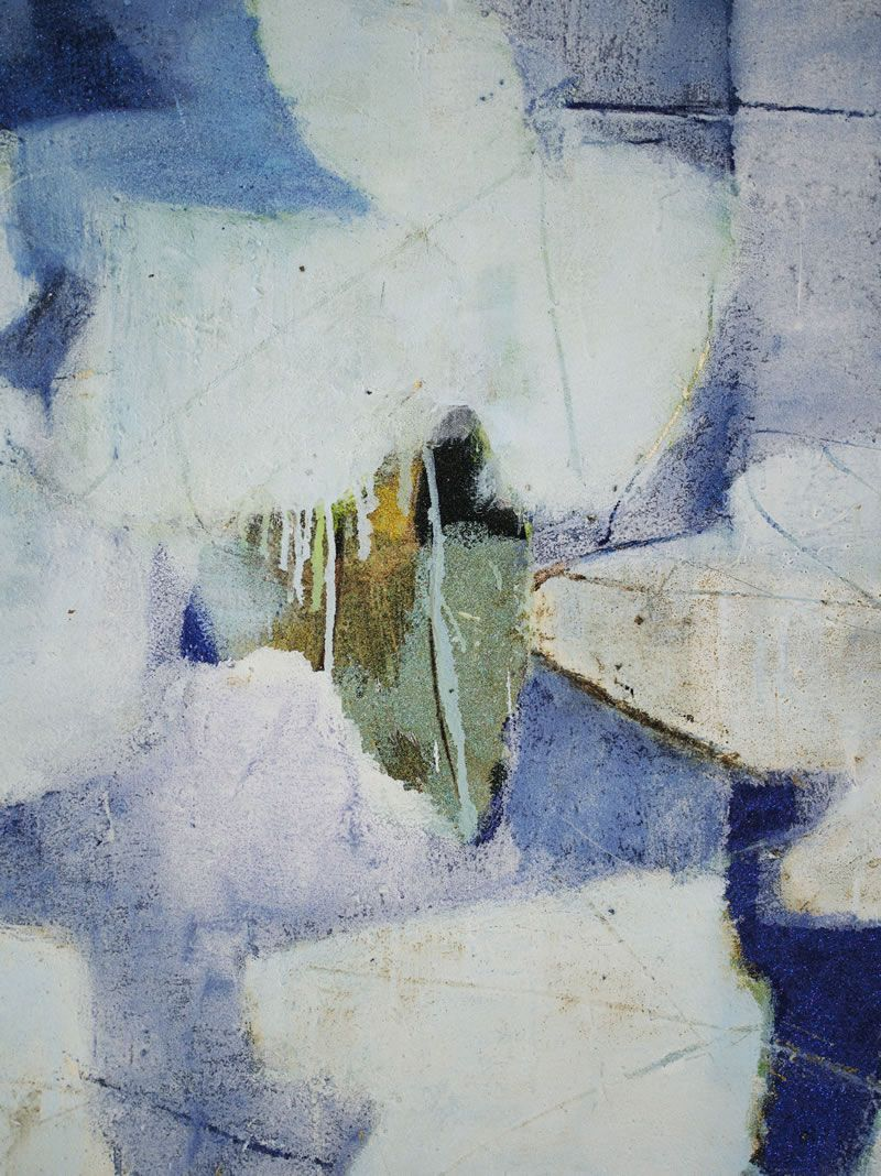 "detail, ""Every day and every night blue"" - oil and tar on canvas by Reza Derakshani"