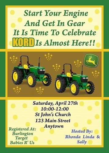 Baby Shower Invitation Tractor Baby Shower Invitation John Deere