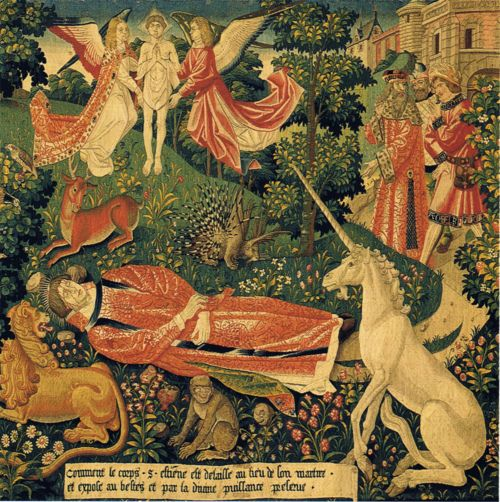 La tenture de saint Etienne (Wall Hanging of St Stephen), Brussels, ca 1500, wool and silk, 1,68 x 3,59 m, Musée de Cluny, Paris   Scene VIII: The Body of St Stephen is exposed to the beasts.