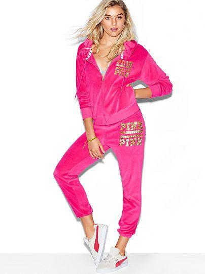 Velour Skinny Pant Pink Victoria S Secret Women Pants Casual Lace Up Leggings High Waisted Shorts Denim
