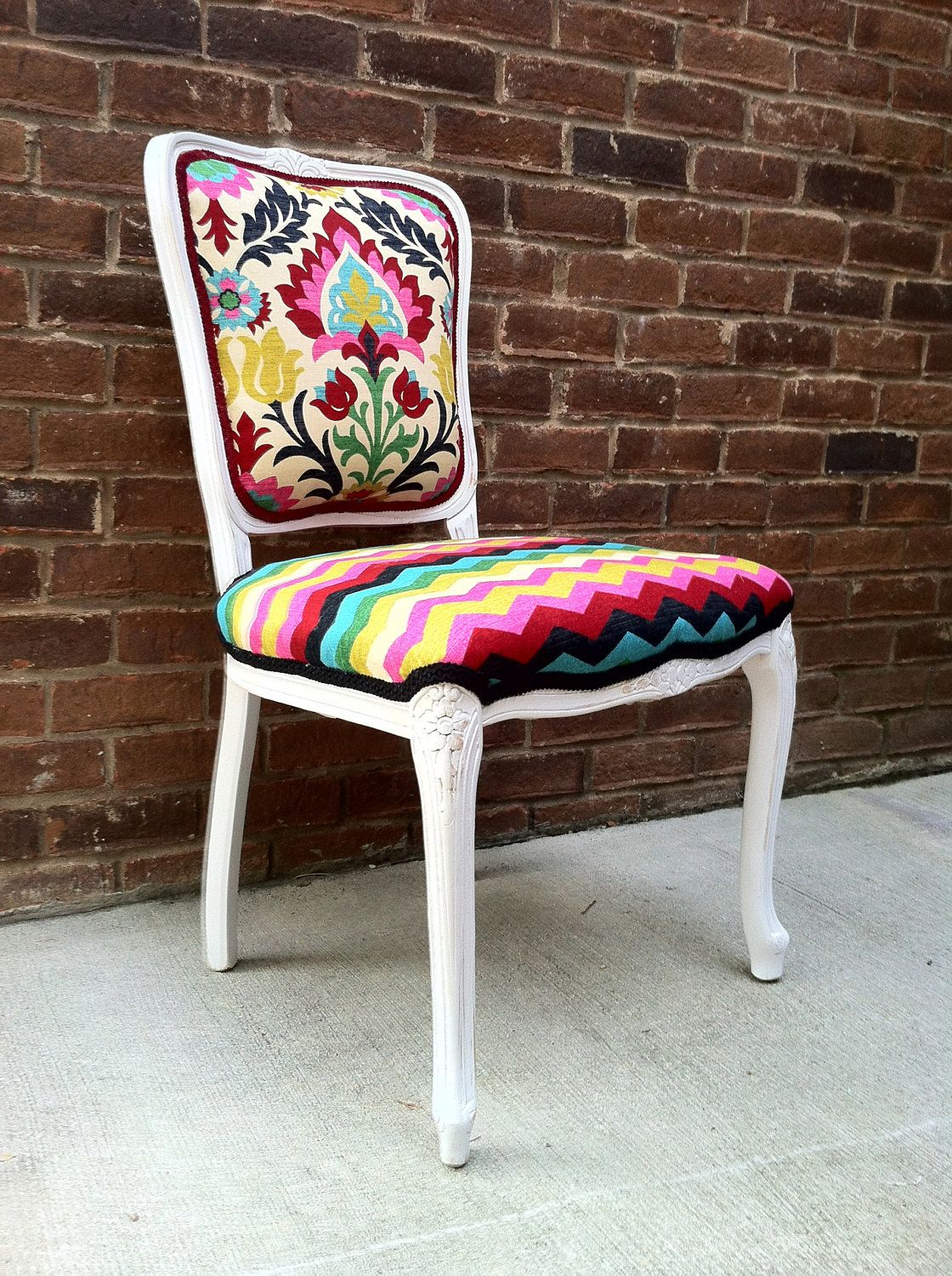 Best French Louis Xvi Accent Chair Ikat Chevron Eclectic 640 x 480