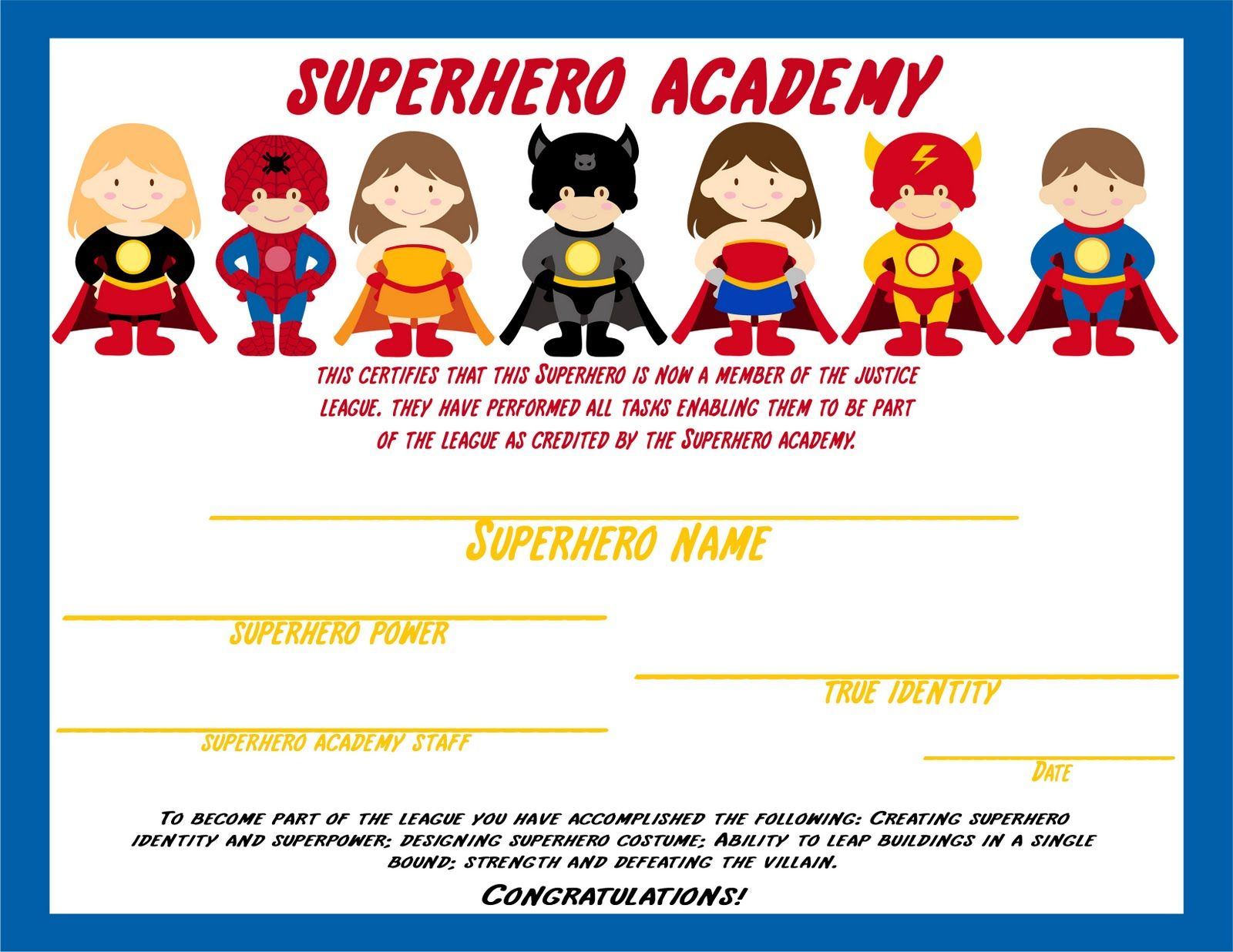 superhero certificate awarded after kids complete activities superhero certificate awarded after kids complete activities elegant affairs