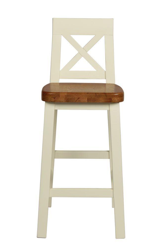 billy cross back cream painted bar stool  oak seat