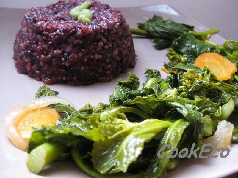 riz complet, légumes