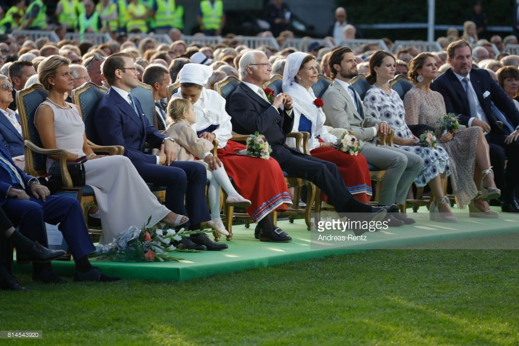 Prince Daniel of Sweden, Princess Estelle of Sweden, Crown Princess Victoria of Sweden, King Carl Gustaf of Sweden, Queen Silvia of Sweden, Prince Carl Philip of Sweden, Princess Sofia of Sweden, Princess Madeleine of Sweden and Christopher O'Neill attend the celebrations of Crown Princess Victoria of Sweden's 40th birthday at Borgholm IP on July 14, 2017 in Borgholm, Sweden.  (Photo by Andreas Rentz/WireImage)