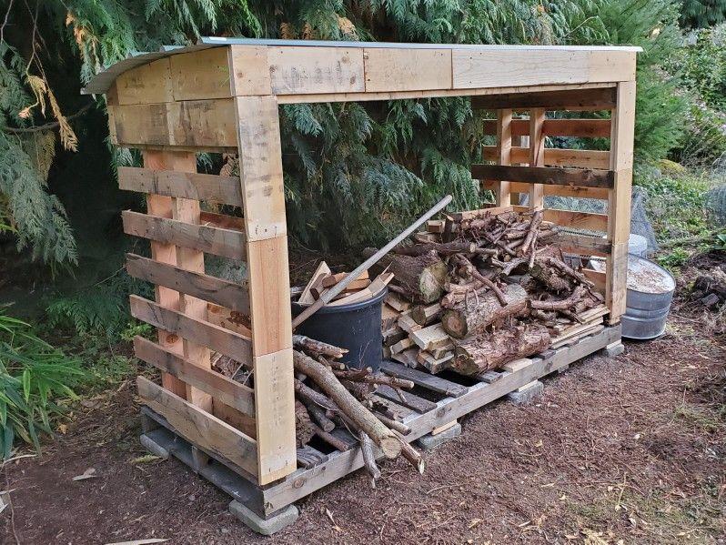 Easy diy pallet woodshed with images pallet diy wood