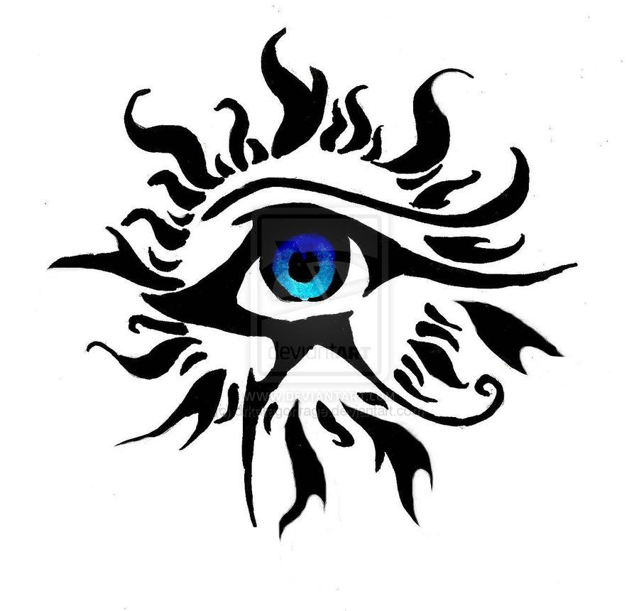 Beautiful Tribal Horus Eye With Blue Eyeball Tattoo Design Horus Tattoo Moon Tattoo Eye Of Horus