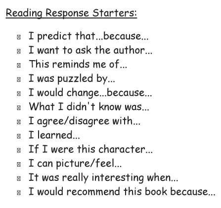 Reading Response Starters | Reading Response Ideas | Pinterest ...