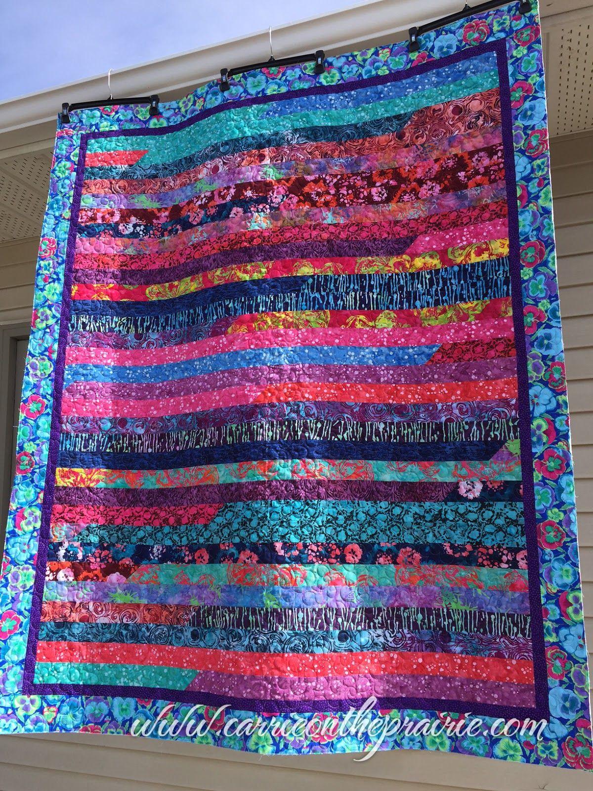 Strip Quilt With Edge To Edge Quilting By Carrie On The