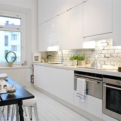 25 Modern Kitchens And Interior Brick Wall Design Ideas Stylish Kitchen Modern Kitchen Interiors Contemporary Kitchen