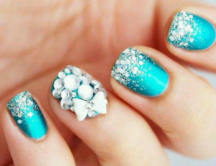 Auqa Glitter Rhinestone Bow Nailart Nailart Nails Auqa Glitter