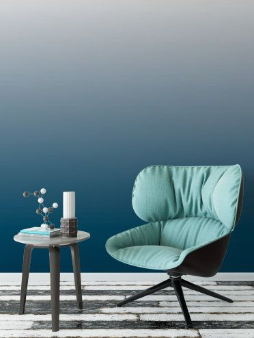 Blue Ombre Removable Wallpaper // Blue Dip Dye Peel and