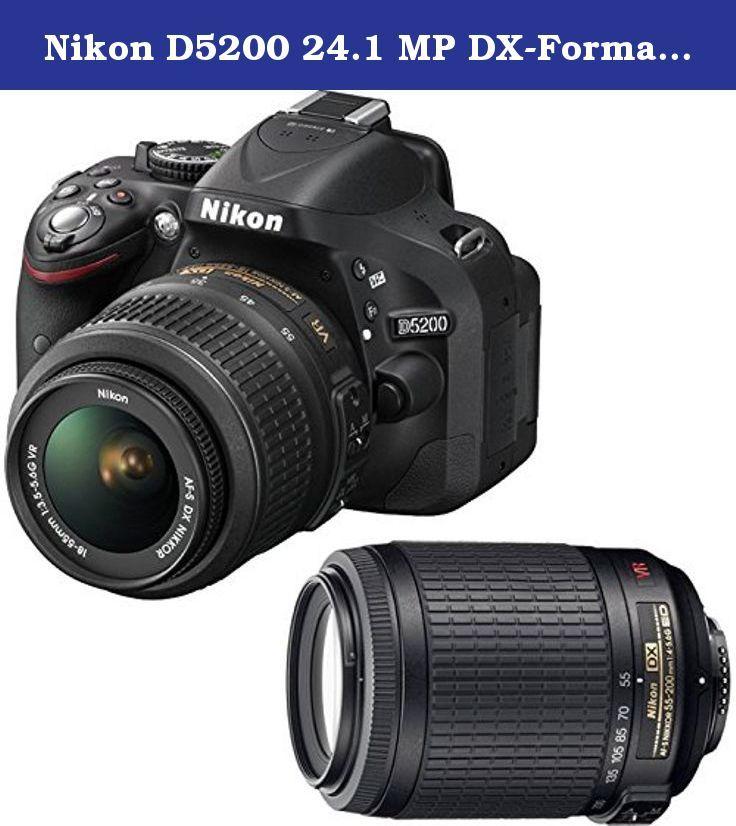 Nikon D5200 24 1 Mp Dx Format Digital Slr Camera Black Body With Nikon Af S Dx Nikkor 18 55mm F 3 5 5 6g Vr Lens And Af Nikon D5200 Vr Lens Digital Slr Camera