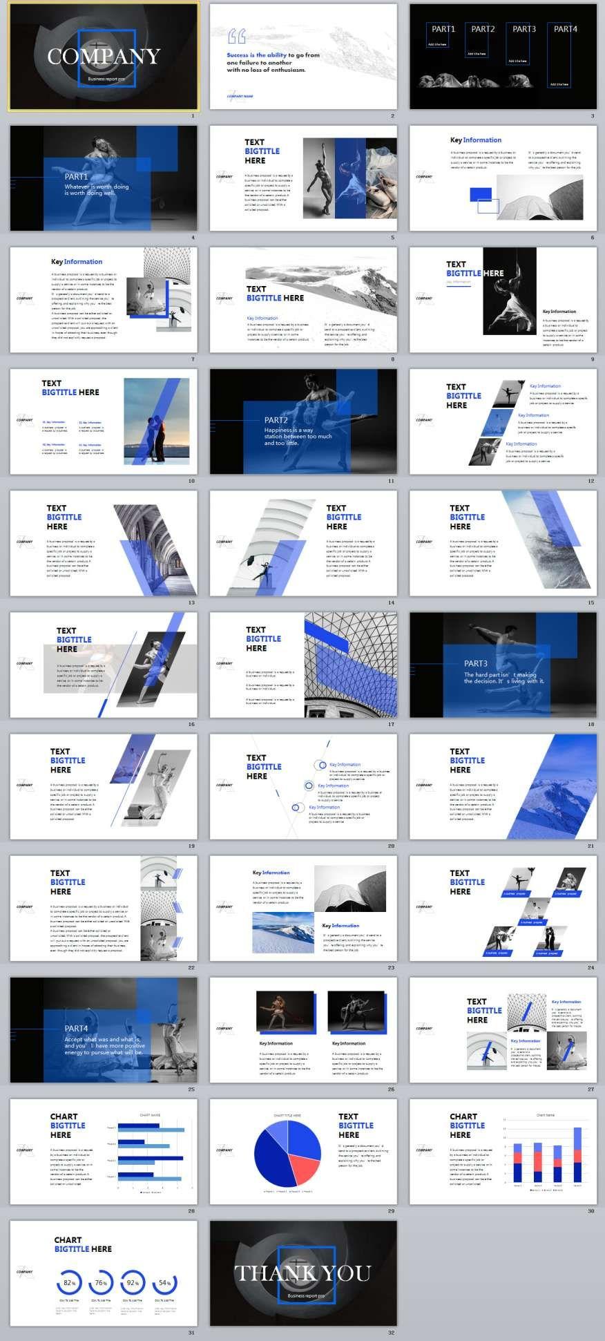 32 Blue Art Business Powerpoint Templates Infographics Motion