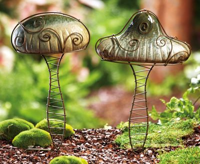 Interesting Pair Of Decorative Garden Mushrooms For $14.00 From  Collections, Etc.