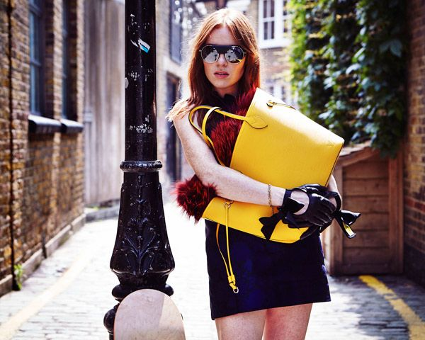 Angela Scanlon for Louis Vuitton's new Epi Neverfull bags.