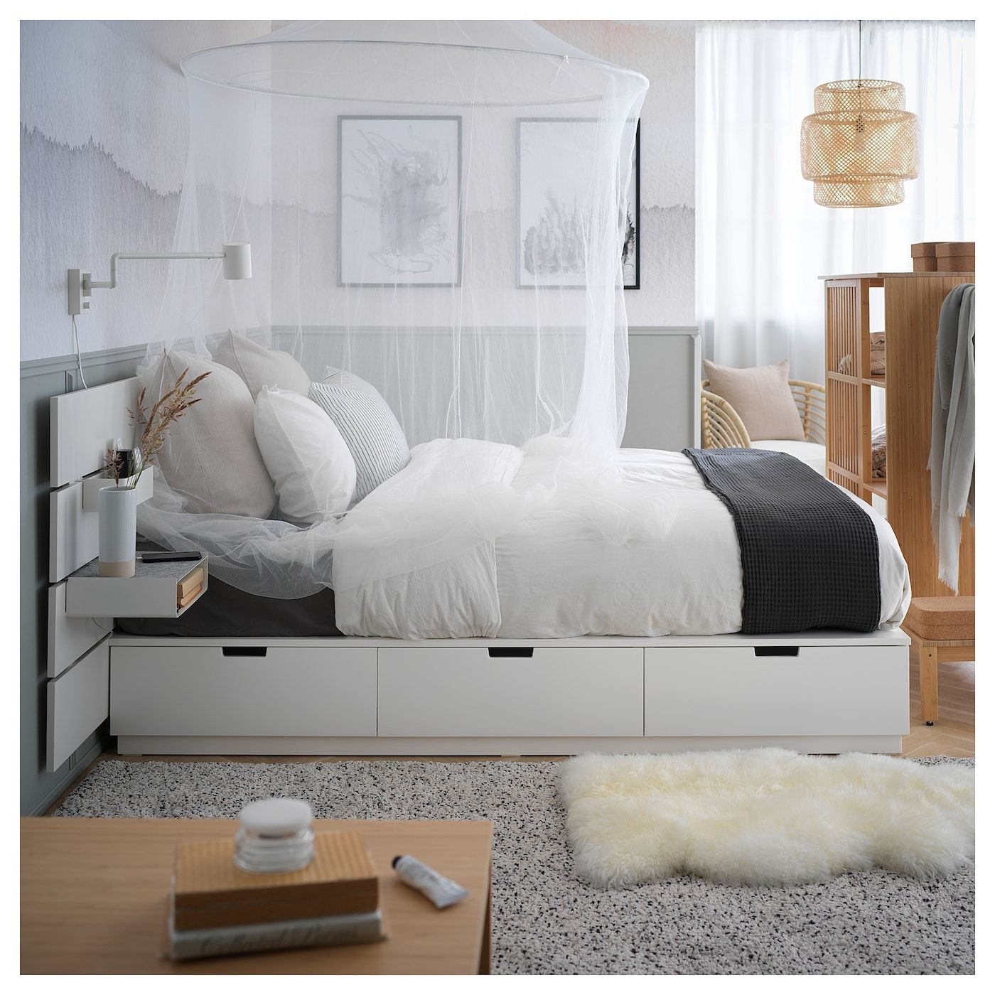Nordli Bed With Headboard And Storage White Ikea In 2020 Bed Frame With Storage Headboards For Beds Ikea Storage Bed