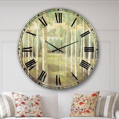 East Urban Home Farmhouse Oversized Aspens Forest Wall Clock Traditional Wall Clocks Farmhouse Wall Clocks Clock