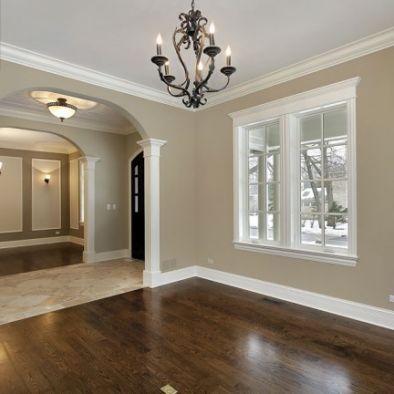 Dark wood floors and white baseboards window trim for Hardwood floors with white trim