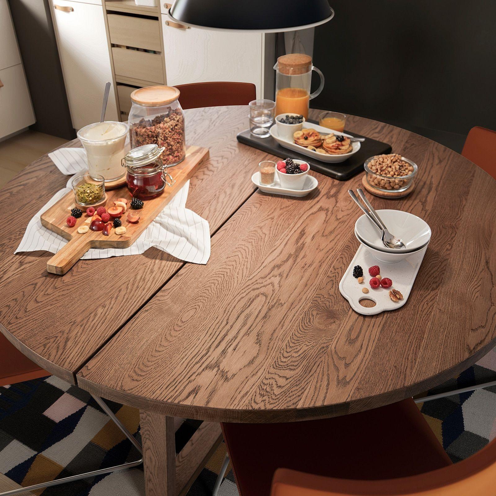 Morbylanga Table Oak Veneer Brown Stained Length 57 1 8 Ikea Food Stains Ikea Veneers [ 1600 x 1600 Pixel ]