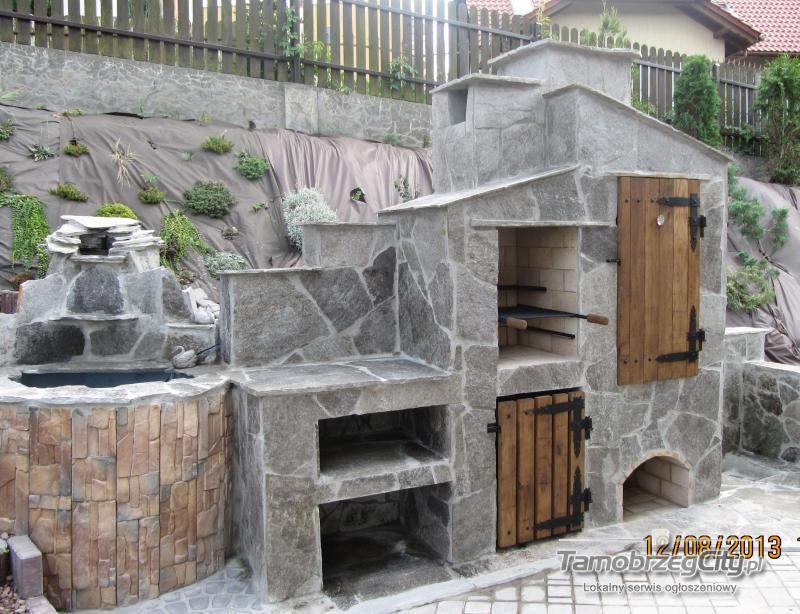 Tylko na zewnątrz Murowane Grille Ogrodowe Fasady Mury Ogrodzenia Z Kamienia | grill CB37