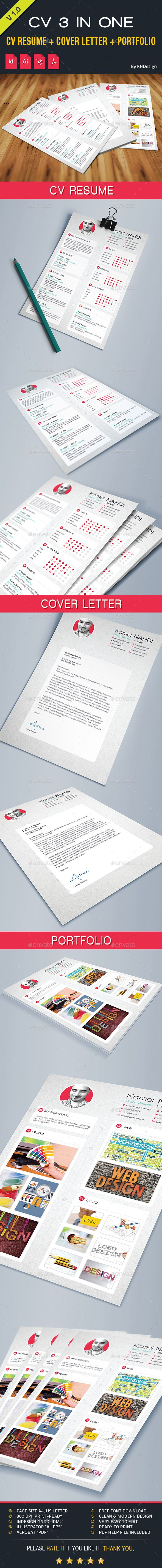 Resume Cv 3 In One By Kameln Resume Cv Cover Letter Portfolio Show Your  Resume The Right Way. Clean & Modern Design And Very Easy To Use And  Customize. Fi