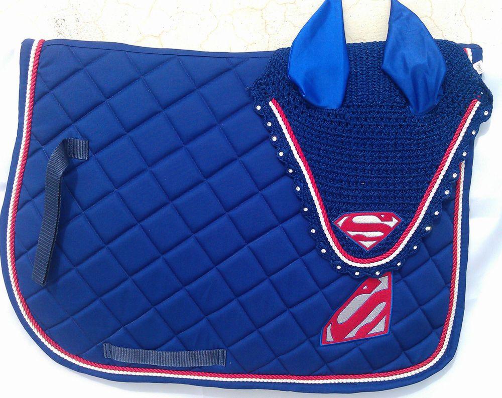 Details about SUPER MAN SADDLE PAD SET FLY VEIL HORSE