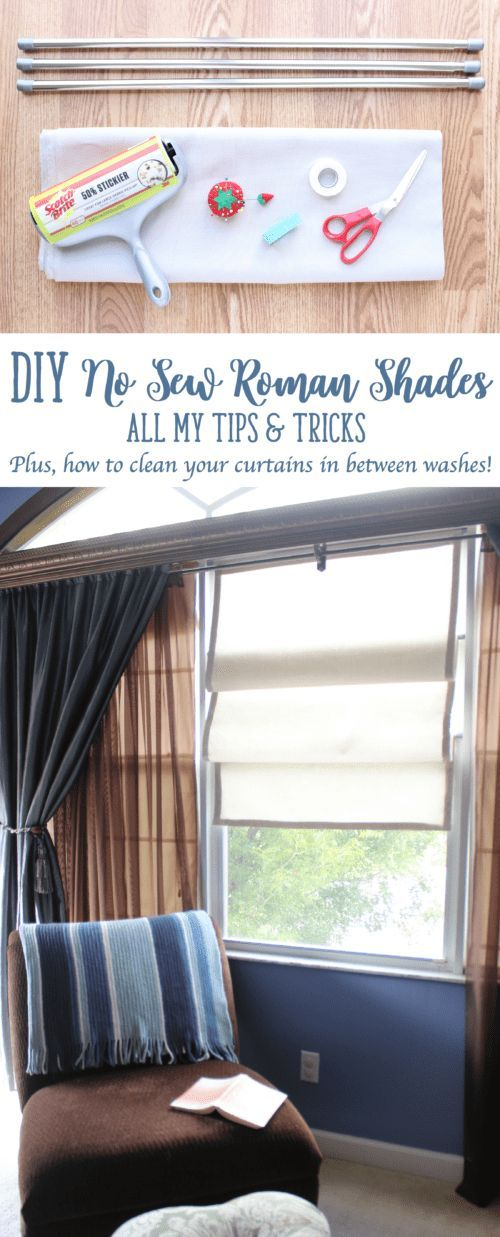 Make These No Sew Roman Shades In One Day Hang Them Using Tension Rods And Eliminate The Hle To Install Any Hardware