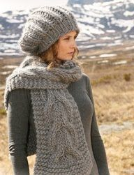 "free knitting pattern for hat and scarf. Set comprises  Knitted DROPS hat  in English rib and scarf with cables in ""Polaris"". 7f5c324b025d"