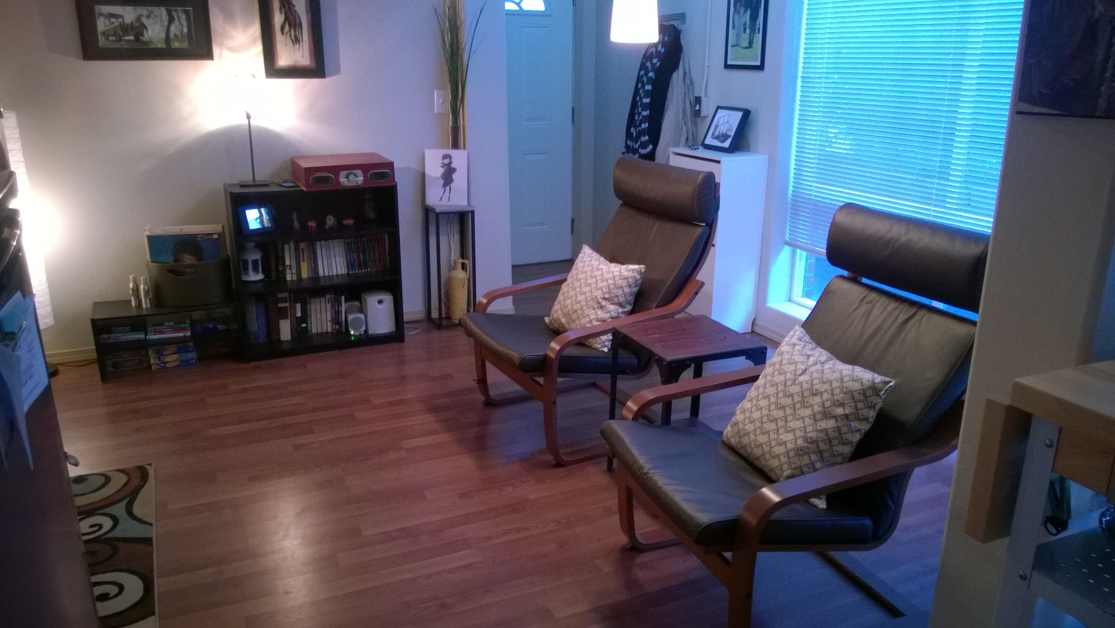 Poang chairs from Ikea in our tiny living room in our downtown