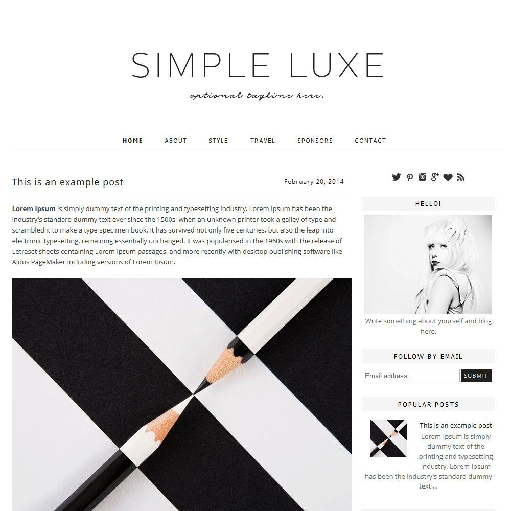 Premade Blogger Template Simple Lux — Shiny Magic | Blog Design ...