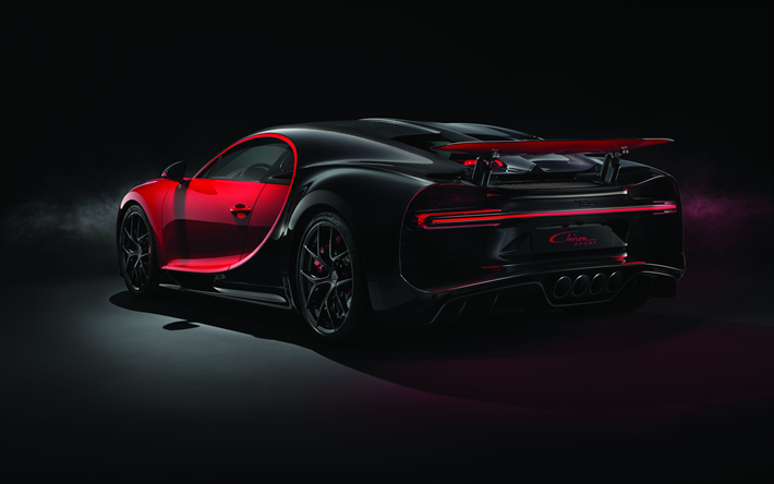 Download Wallpapers Bugatti Chiron Sport 2018 4k Hypercar Exterior Rear View Black Red Chiron Superca Bugatti Chiron Best Luxury Sports Car Bugatti Cars