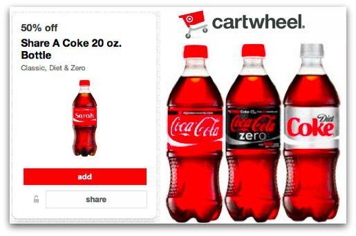 graphic relating to Coke Printable Coupons identified as Warm* Focus Cartwheel- 50% off Coke Brand name 20 oz. Bottles