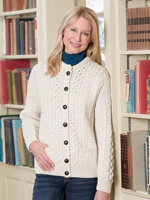 Authentic Cable-Knit Cardigan, Knitted In Ireland With 100% Merino ...