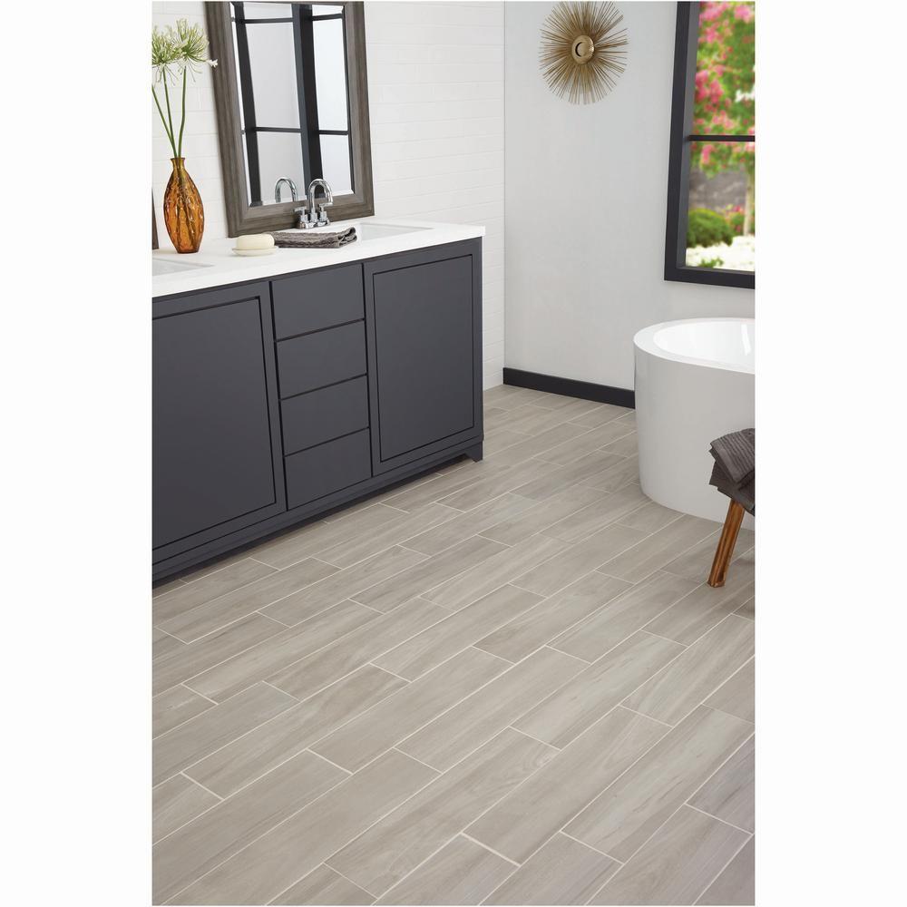 LifeProof Linen Wood 6 in. x 24 in. Glazed Porcelain Floor