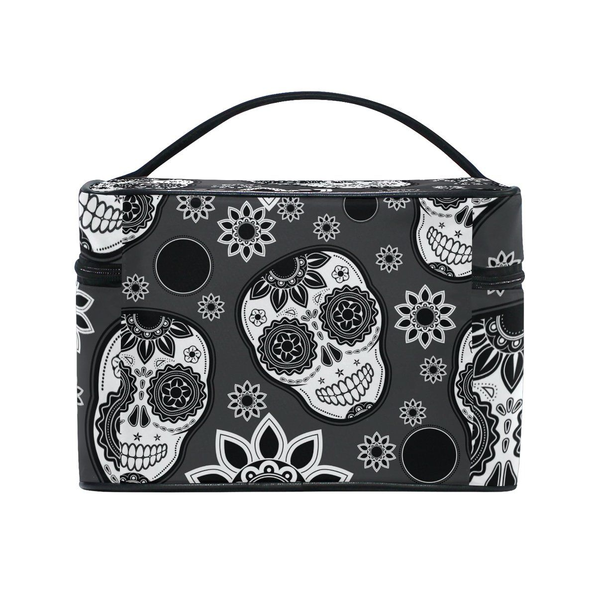 KUWT Sugar Skull Women Travel Makeup Bag Portable Cosmetic