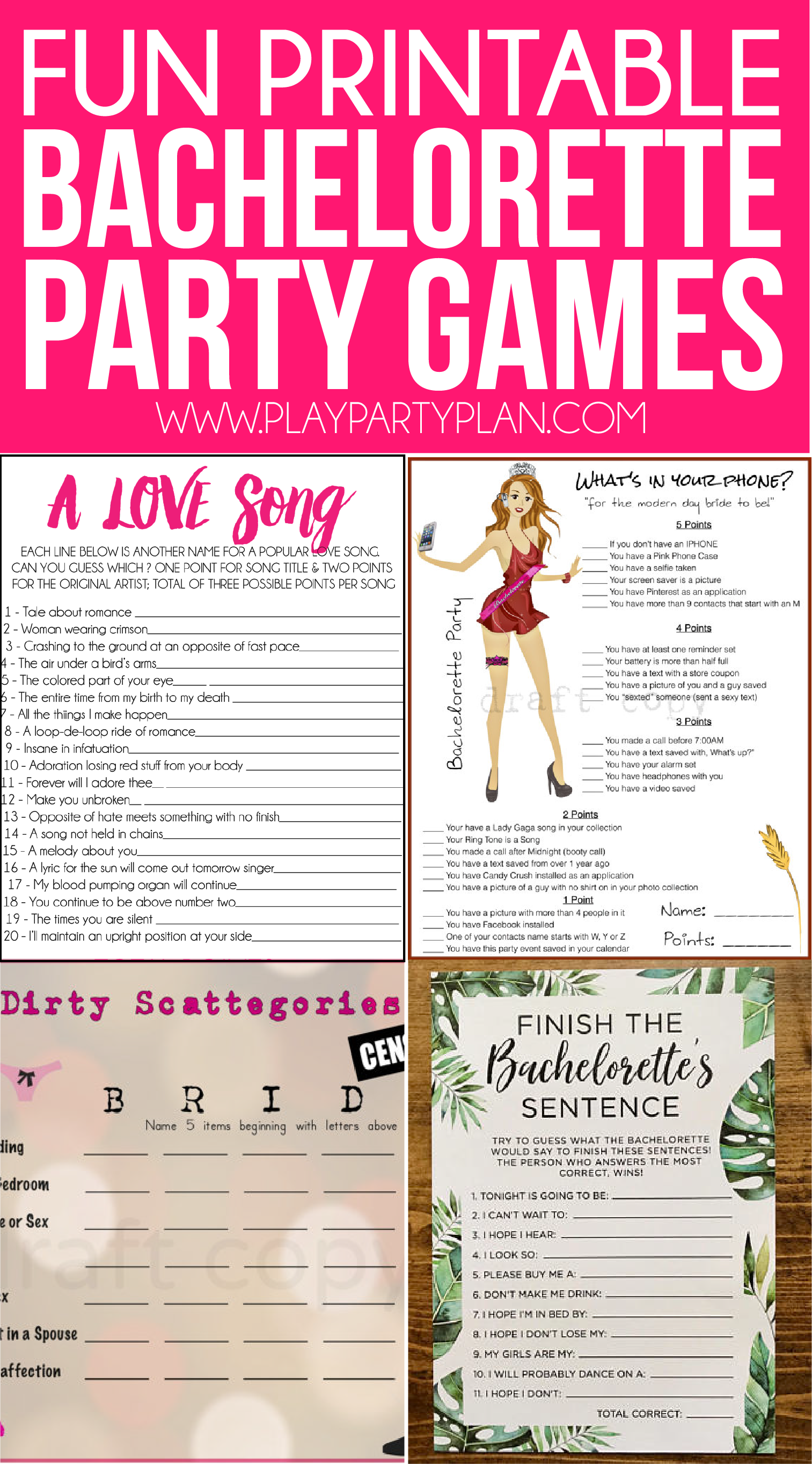 Slobbery image for bachelorette party games printable